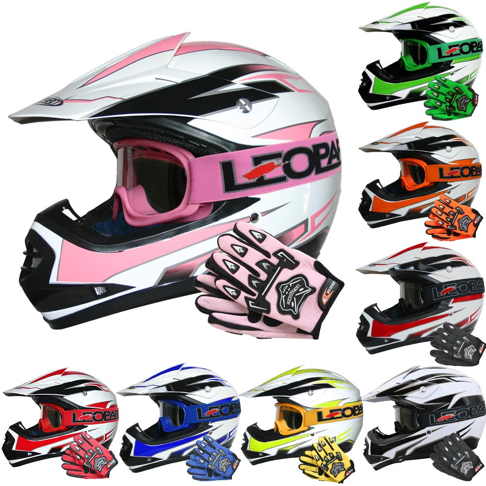 Children Quad Bike ATV Go Karting Helmet Leopard LEO-X16 Kids Motocross HELMET /& GLOVES /& GOGGLES Blue XL