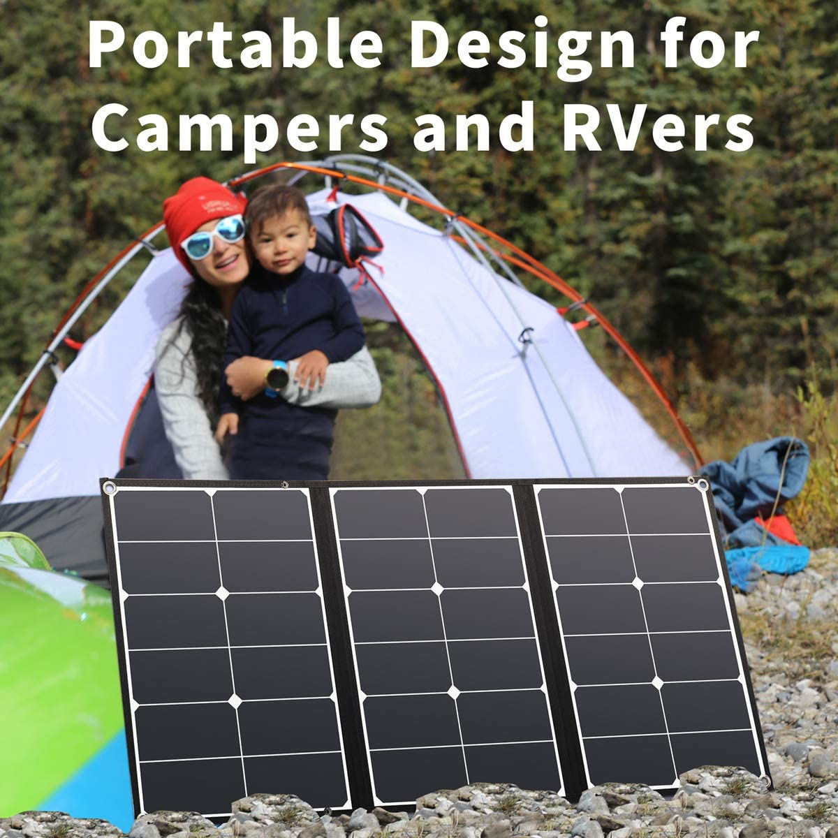 Jackery SolarSaga 60W Solar Panel for Explorer 160//240//500 and HLS290 as Portable Solar Generator Portable Foldable Solar Charger for Summer Camping Van RV Cant Charge Explorer 440// PowerPro