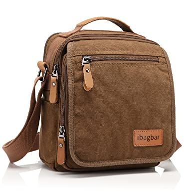 e7d01579692 Image Unavailable. Image not available for. Color  Ibagbar Men s Vintage  Canvas Shoulder Everyday Bag Brown