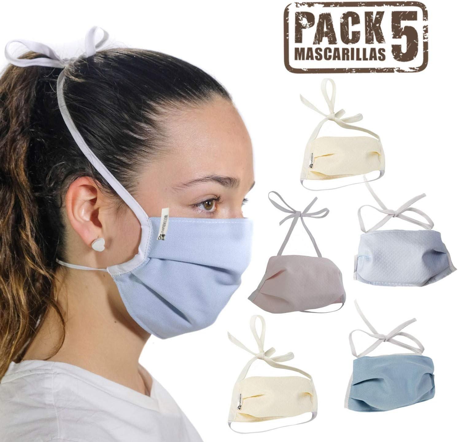 tapidecor Pack 5 Mascarillas Tela Lavables Reutilizable 3 Capas Algodón Piqué Acabado Premium