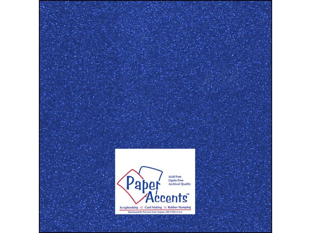 Accent Design Paper Accents Cdstk Glitter 12x12 85# Jewel Blue