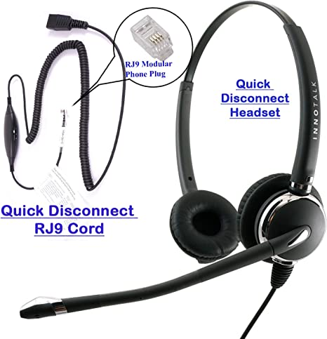 Amazon Com Rj9 Headset Deluxe Pro Binaural Headset 8 Selection Switches Rj9 Headset Adapter For Any Phone S Jack Computers Accessories