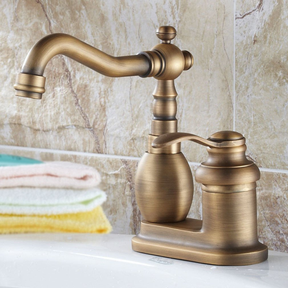 Good quality Antique Basin Sink Mixer Tap Antique full copper two holes, hot and cold water basin mixer
