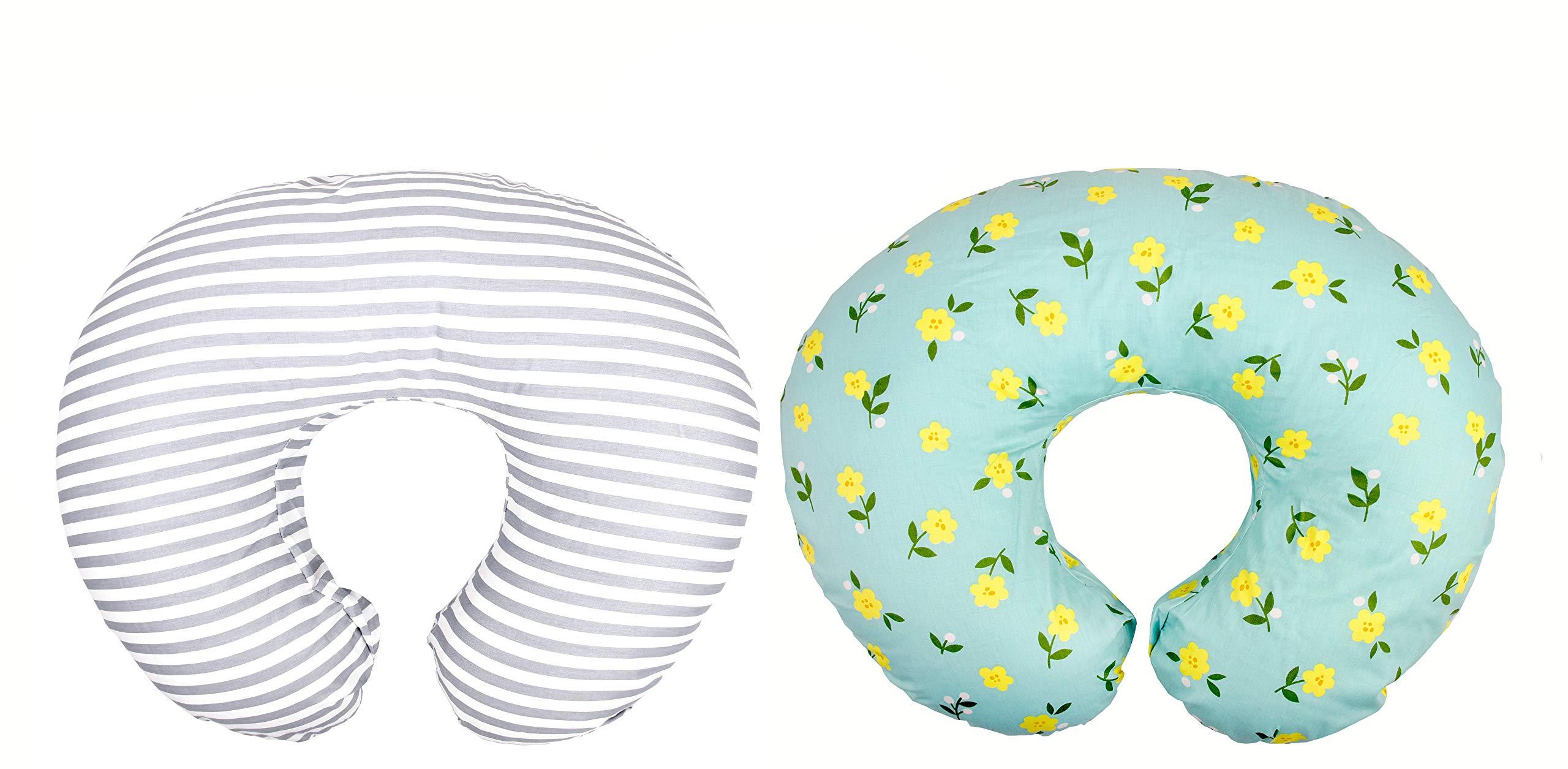 Premium Quality 2 Pack Nursing Pillow Covers by Mila Millie | Baby Girl Chic Flower Design | Gray Stripes Unisex Slipcover | 100% Cotton Hypoallergenic | Breastfeeding | Shower Gift | Fits Boppy by Mila Millie