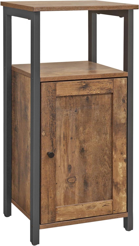 Bureau Salon VASAGLE Meuble de Rangement sur Pied Marron Rustique LSC24BX Style Industriel Chambre /Étag/ère multifonctionnelle pour Cuisine Placard 1 Porte Salle de Bain