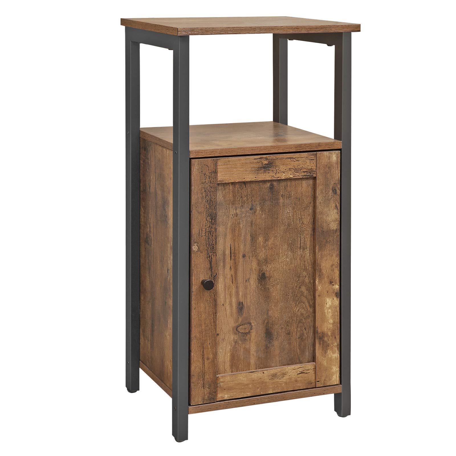 VASAGLE Floor Standing Cabinet, Industrial Kitchen Storage Cabinet with Cupboard, Multifunctional Shelving for Living Room, Bedroom, Bathroom, Study, Rustic Brown LSC24BX
