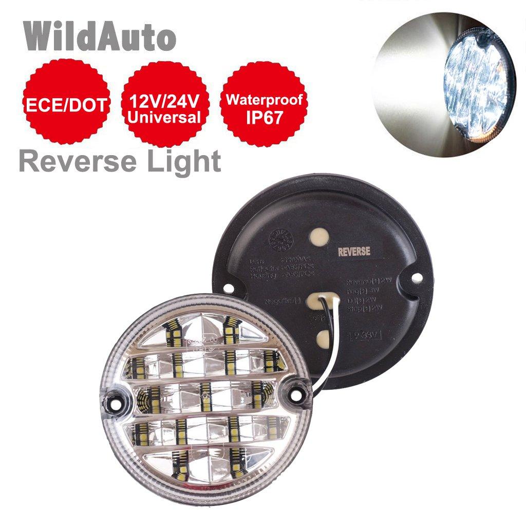 WildAuto 95 mm 12V-24V rond LED, feux de gabarit pour remorque Stop/Tour/recul/brouillard lampe de secours (1pcs Fog)