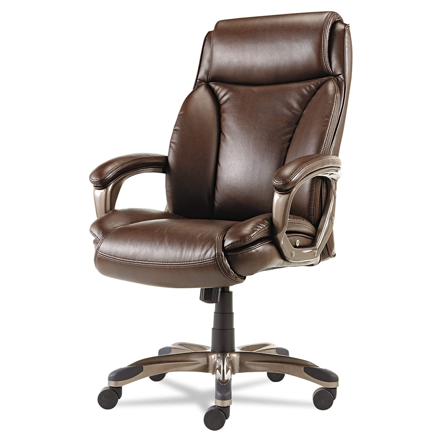 Amazon.com: Alera Veon Series Executive High Back Leather Chair With Coil  Spring Cushioning, Brown: Kitchen U0026 Dining