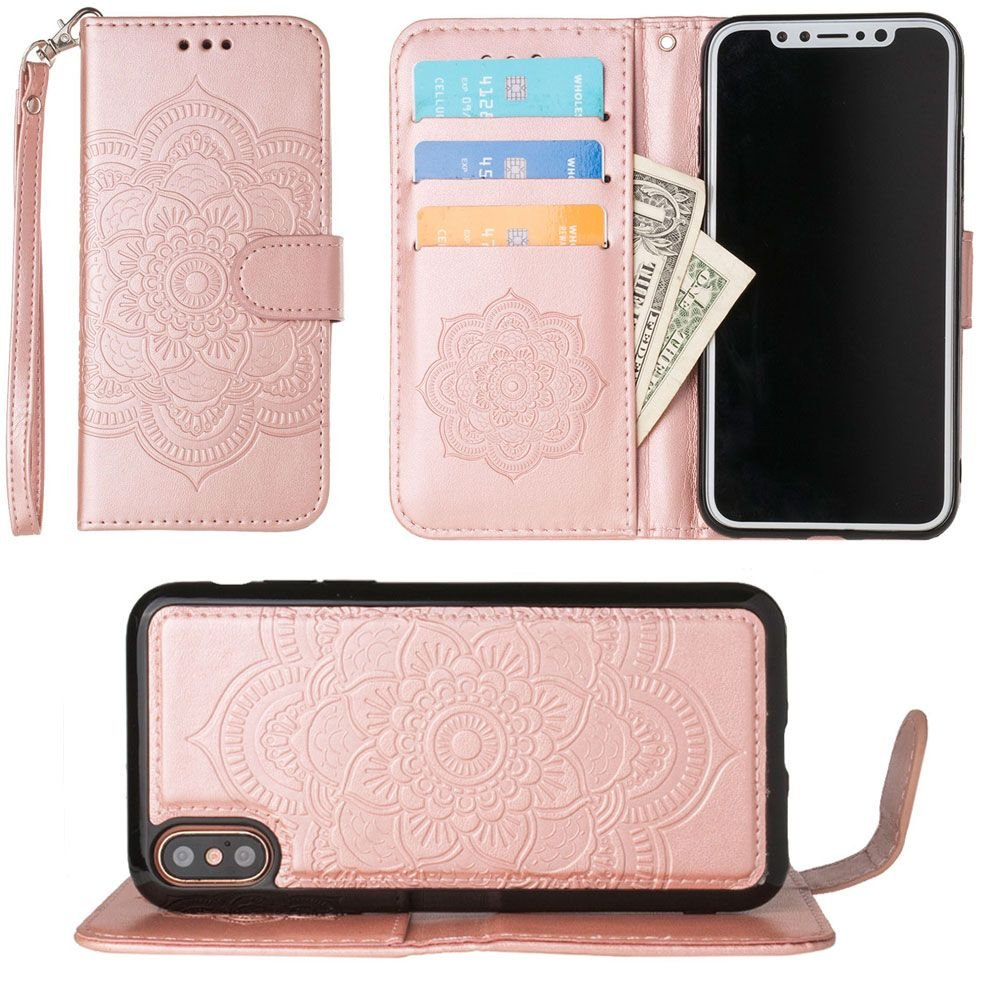 iPhone X Wallet Case, Slim PU Leather Embossed Design with Matching Detachable Flip Cover with Credit Card Holder Wristlet for Women [Mandala - Rose Gold]