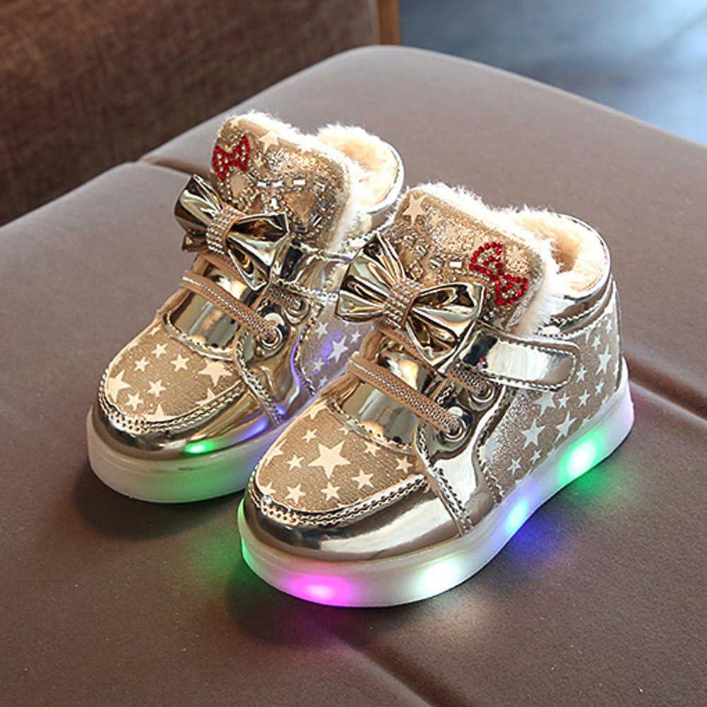 Robemon Enfants Kid Filles Star Bowknot Cristal Mesh LED Lumi/ère Lumineuses Sneakers Chaussures