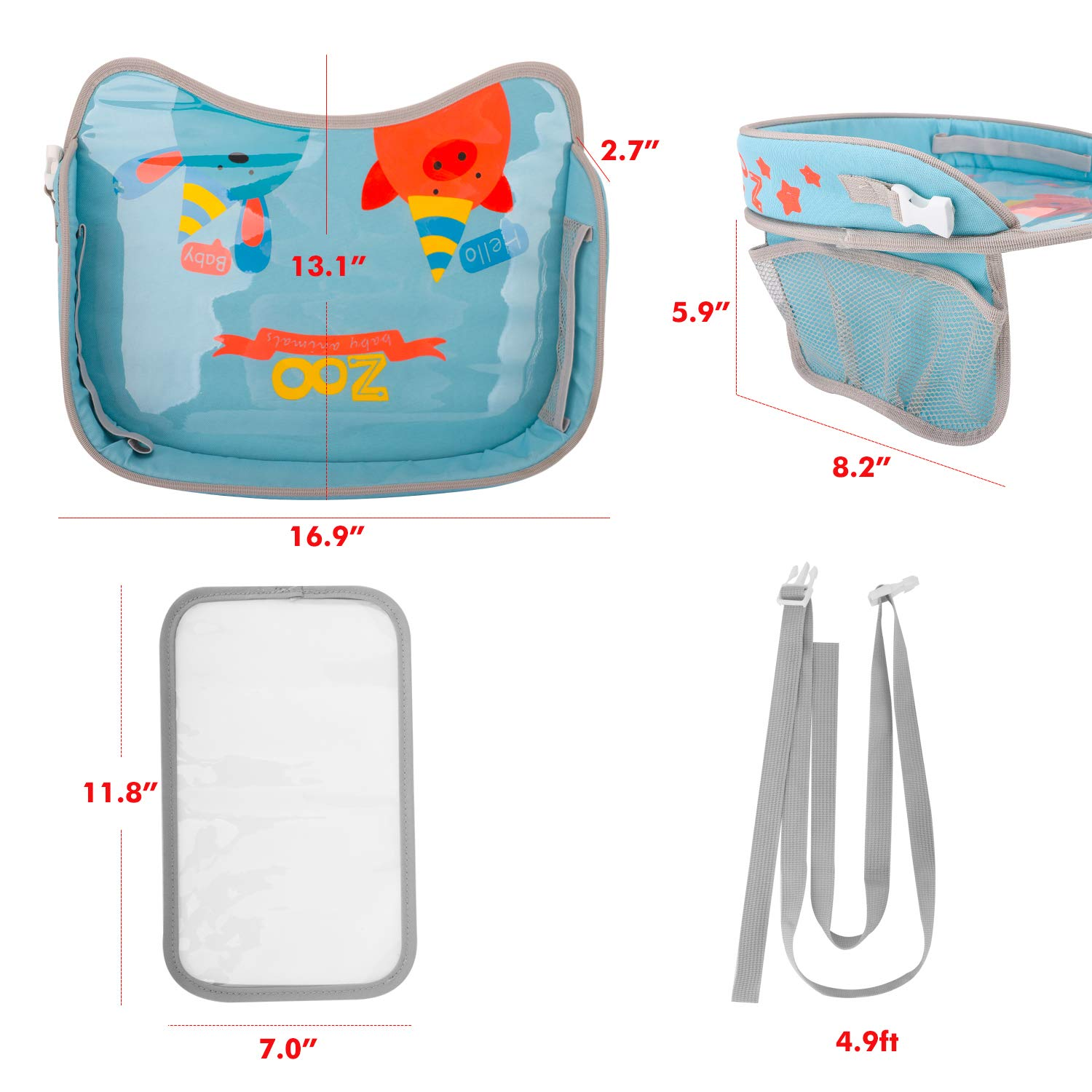 Drink Toddlers Activity Play Tray /& Organizer for Snack Zooawa Kids Car Seat Travel Tray Toys Blue