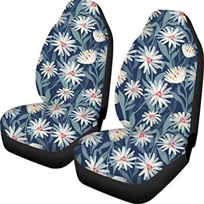 HUGS IDEA Vehicle Seat Protector Car Mat Covers Stylish Daisy Pattern 2 Piece Universal Fit Most Vehicle Cars Sedan Truck SUV: Automotive