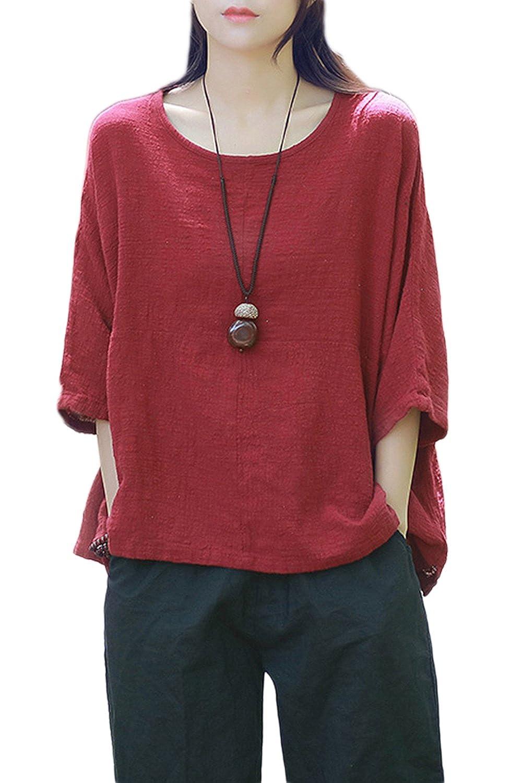 Women Vintage Half Sleeve Scoop Neck Casual Cotton Linen Loose T-Shirt Blouse Top Tee CAFZ870-Beige-F