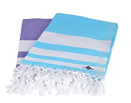 Sathiyas Supreme Turkish Cotton Bath Towel-2pcs Combo (Lavender || Blue)