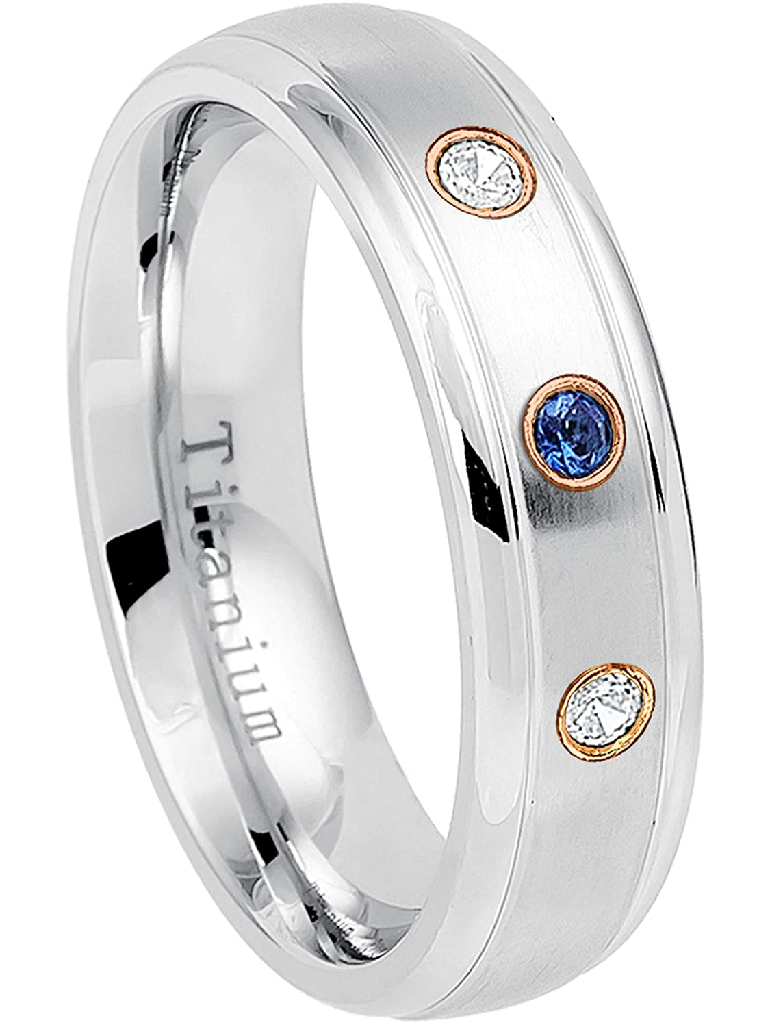 6MM Brushed Finish Comfort Fit Dome White Wedding Band 0.21ctw Blue Sapphire /& Diamond 3-Stone Titanium Ring