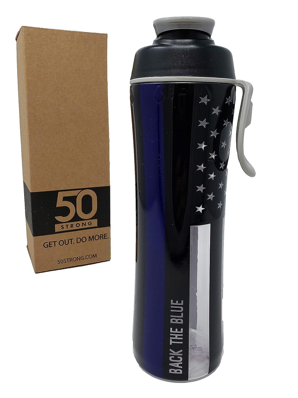 50個の強力な24オンス。 再利用可能なポリスウォーターボトル – 警察や警察の妻への素晴らしいギフト – 薄いブルーラインの支持を見せてください – 簡単に開けるチャグキャップ – アメリカ製  Blue Line B07KKN79TG