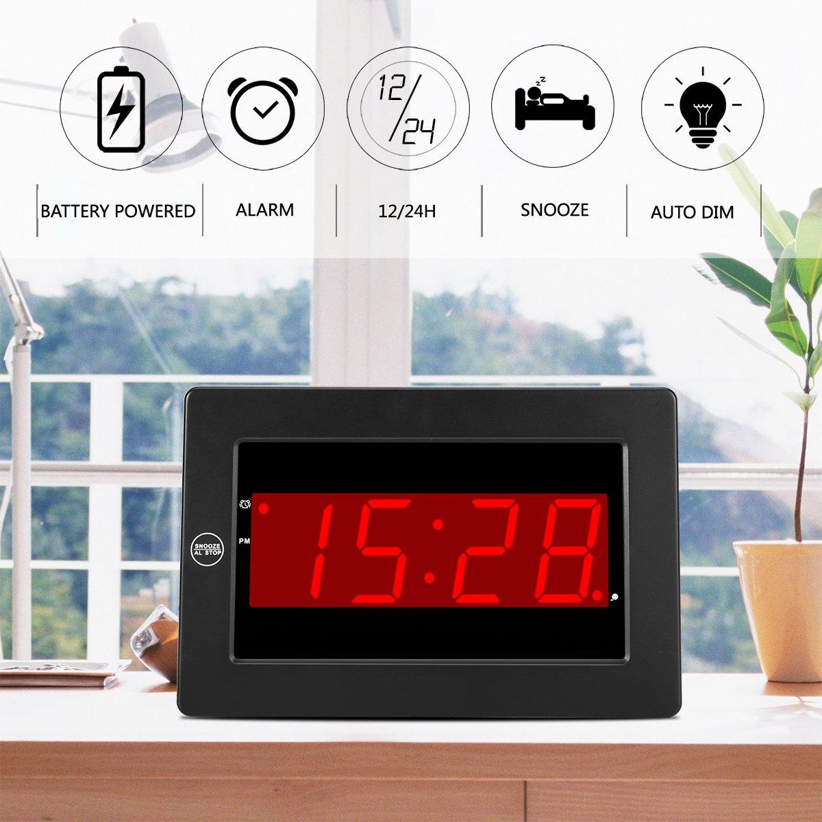 Timegyro LED Reloj de Pared Digital con batería de Escritorio Reloj Despertador con repetición para el Dormitorio (Negro): Amazon.es: Hogar