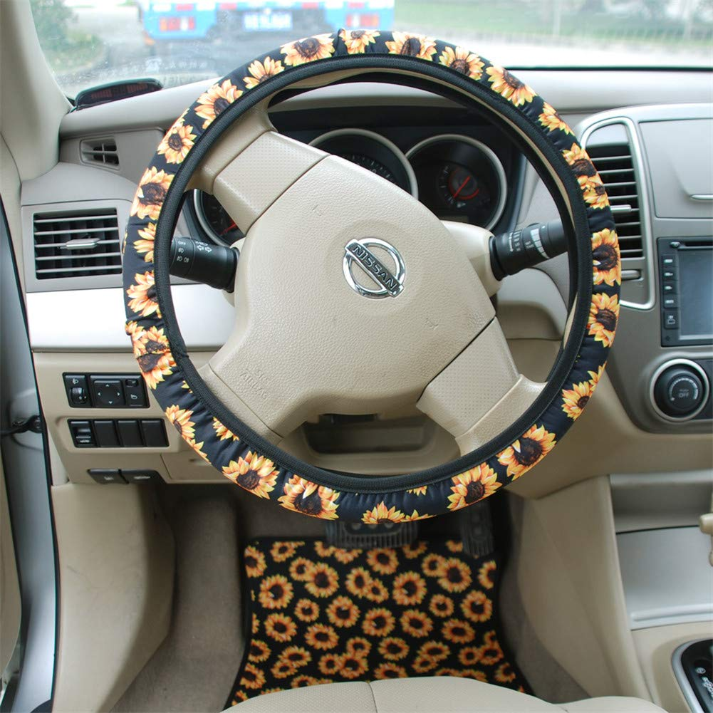 BL Stretch-on Fabric Steering Wheel Cover Universal Fit Bling Buy Handmade Sunflower Steering Wheel Cover