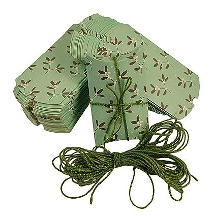 COTIGO-Caja Regalo de Almohada.Paquete de 50 Estilo Hojas Color Verde Claro