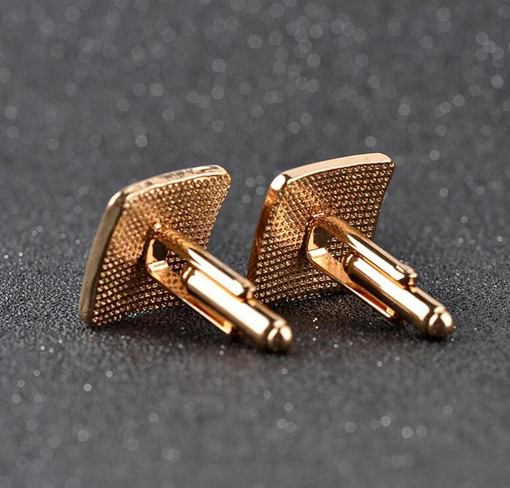 Da.Wa Men Enamel Diamond Inset Cufflinks Classic Tuxedo Shirt Suit Cuff Links Stud (Gold) by Da.Wa (Image #4)