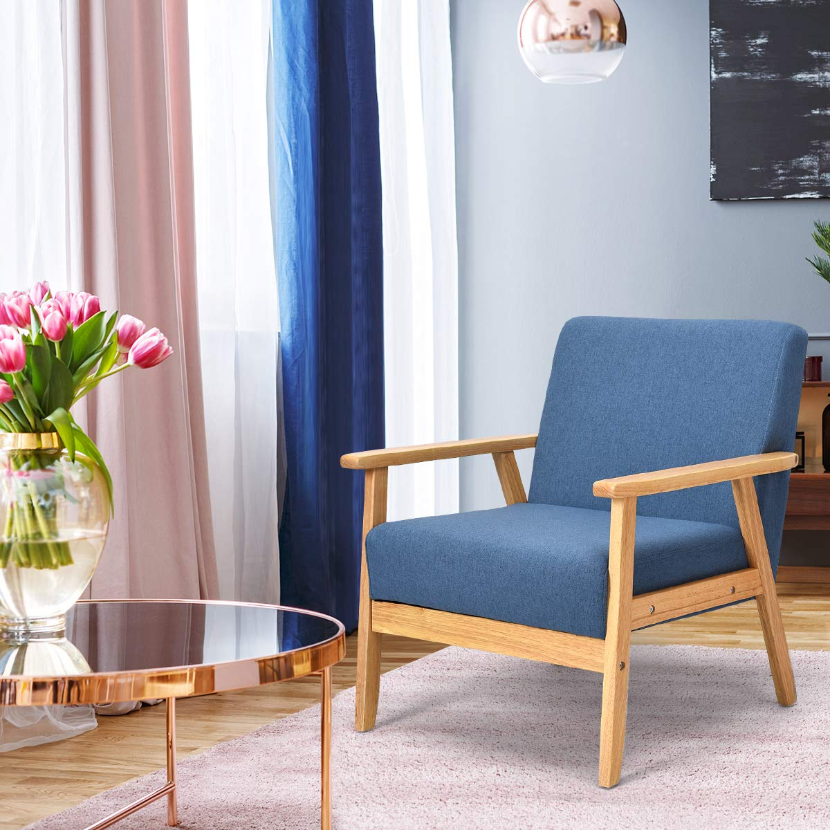Giantex Mid-Century Modern Child Armchair w/Armrests, Sturdy & Durable Rubber Wood Club Chair w/Cushions, Wood Frame & Linen Arm Chair, Solid Wood Frame Low Lounge Armchair (Blue) by Giantex