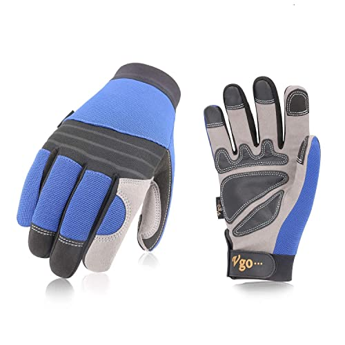 Vgo 3 Pairs Synthetic Leather Work Gloves for Men, Multifunction: Drive, Construction, Mechanic, Garden, Builder, Truck Gloves (Size 9/L, Blue, SL7621)