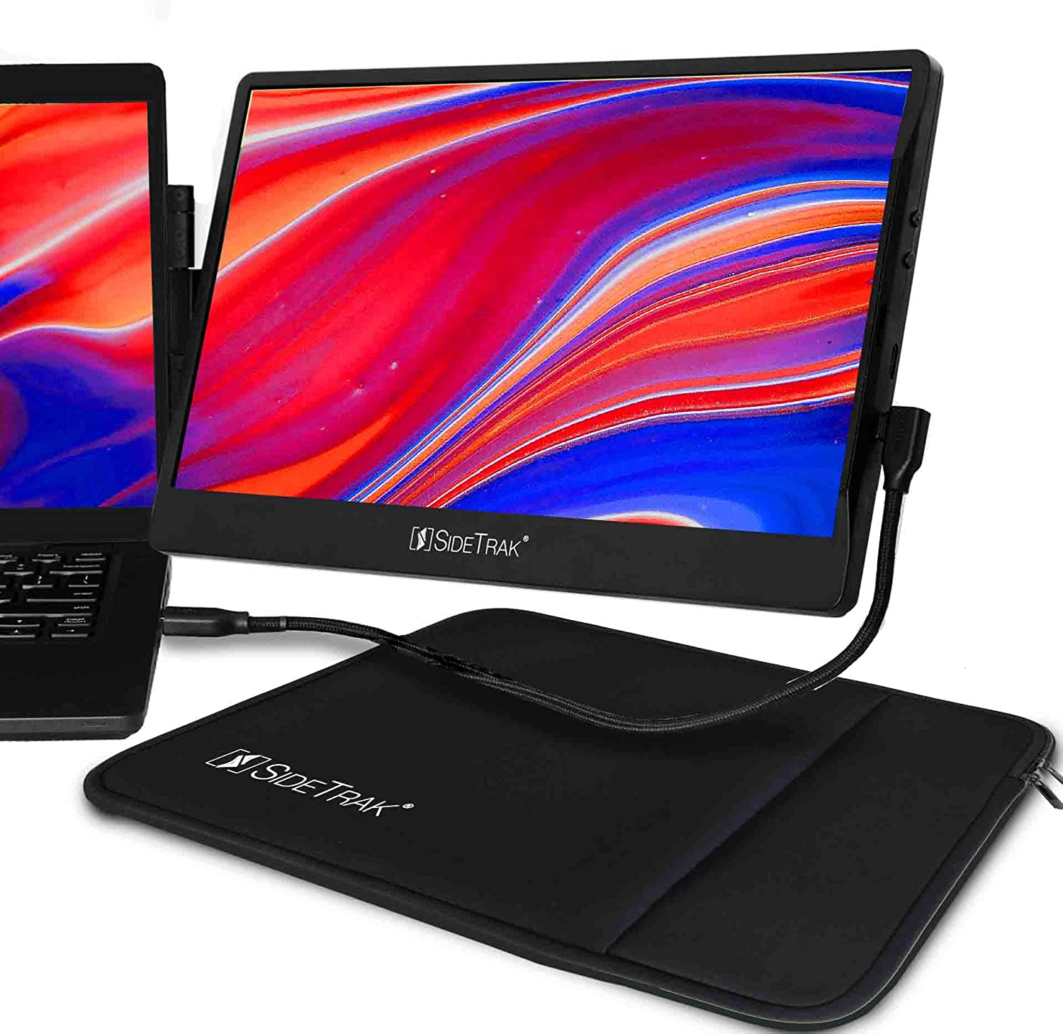 """SideTrak Swivel Attachable Portable Monitor for Laptop 12.5"""" FHD IPS Laptop Screen with 14"""" Protective Case   Compatible with Mac, PC, & Chrome   Fits All Laptop Sizes   Powered by USB-C or Mini HDMI"""