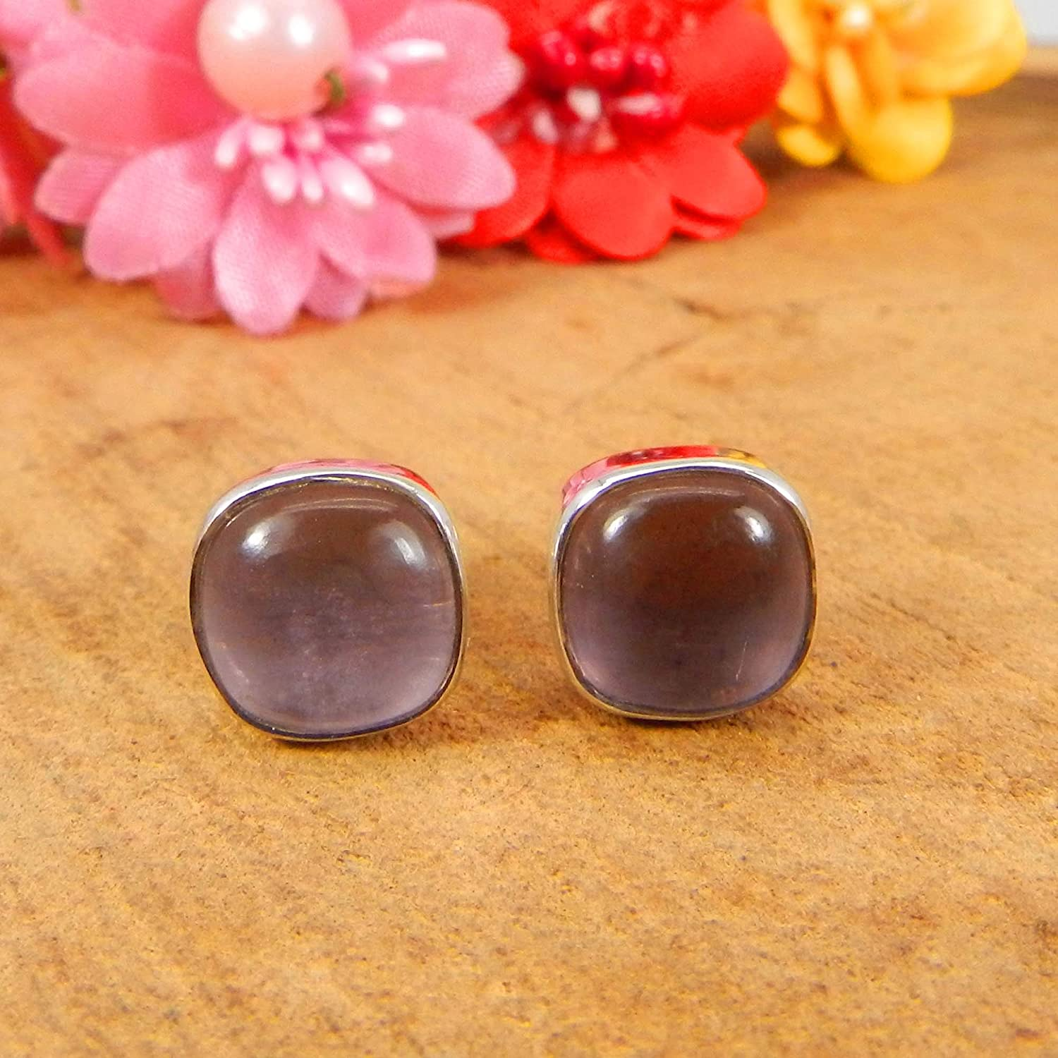 925 Sterling Silver Gemstone Cushion Stud Earrings Pink Amethyst Hydro, Black Ruthenium Gift for Her