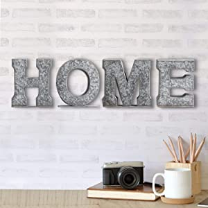 MyGift Vintage Style Galvanized Silver Metal Decorative Tabletop/Wall Mounted Home Block Cutout Letters Sign