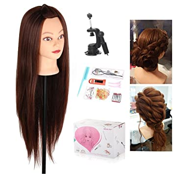 Hearty Synthetic Mannequin Head Female Hair Head Doll 22 Inches Mannequin Doll Head Hairdressing Training Heads Styling With Fiber Tools & Accessories