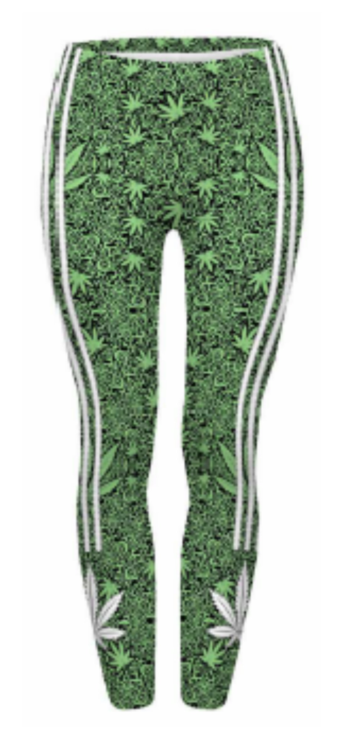 Festie Fever Buttery Soft Printed Pattern Womens Leggings (Marijuana)