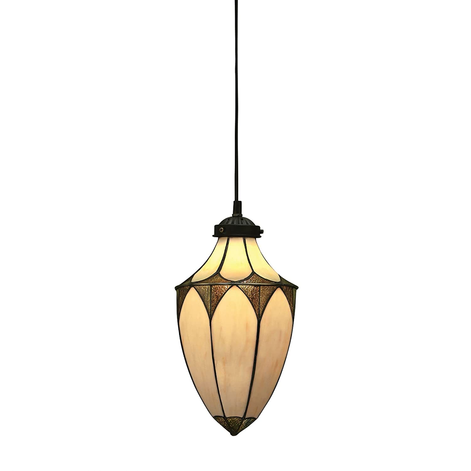 Brooklyn Small Tiffany Style Acorn One Light Ceiling Pendant