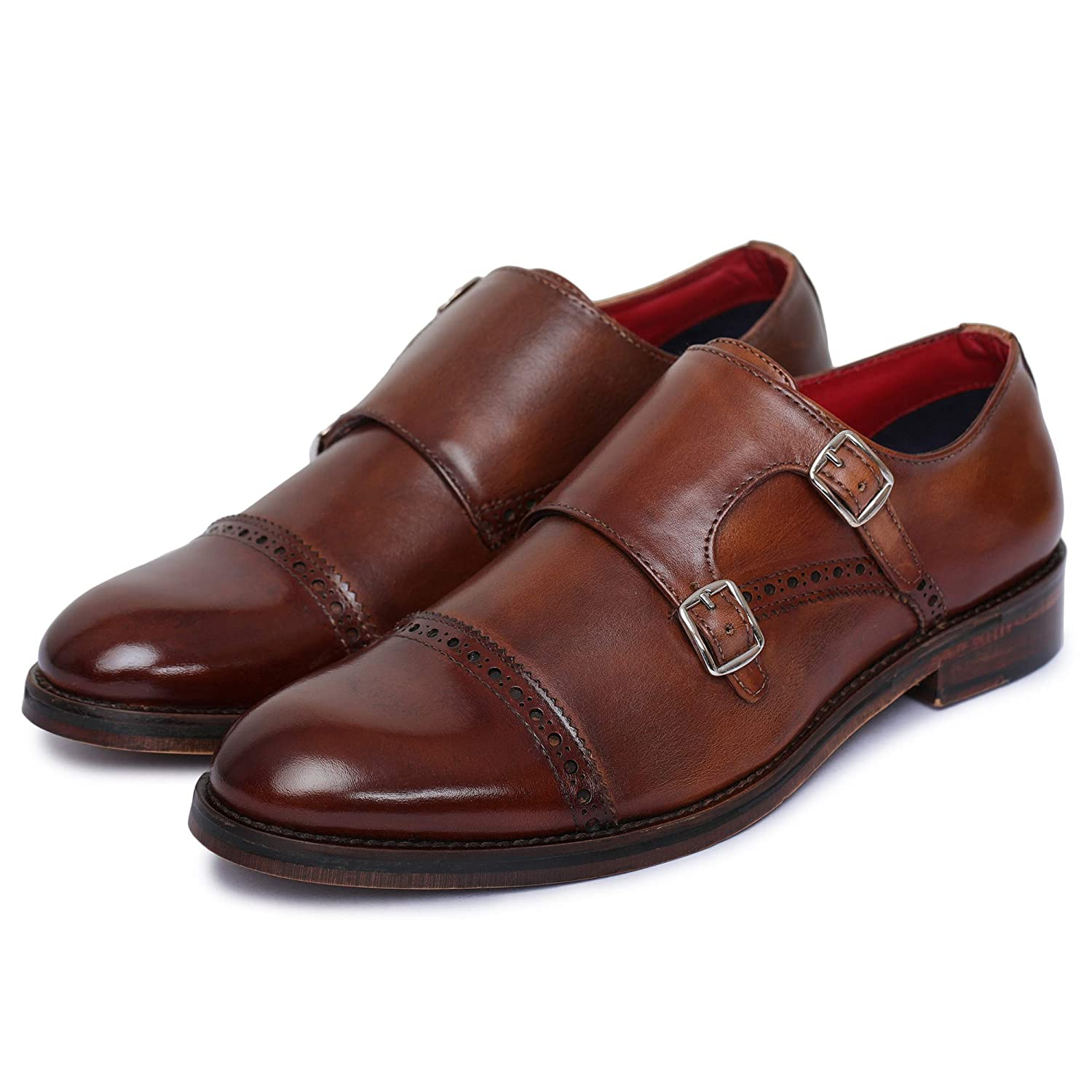 Brown Lethato Handcrafted Men's Captoe Double Monk Strap Genuine Leather Modern Classic Dress shoes