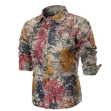 e907e330 Birdfly Men Vintage Retro Leaves Pattern Casual Unique Dress Shirt Plus  Size (M, Khaki