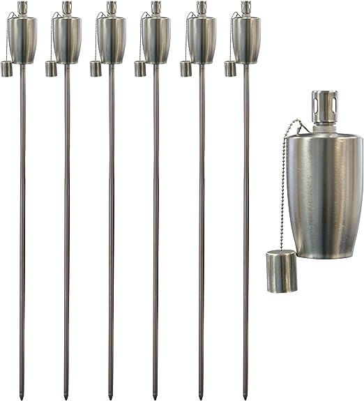 Garden Fire Torch Oil Paraffin Flame Lanterns 146cm Barrel Design x6