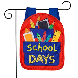 "Briarwood Lane School Days Fall Applique Garden Flag Back to School 12.5"" x 18"""