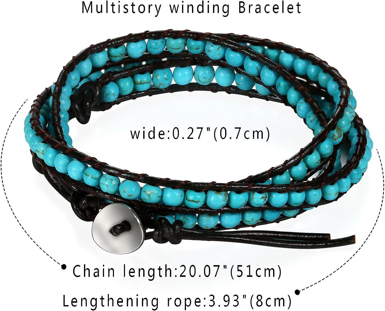 Bracciale etnico boho wrap bracciale tribale multi strati per donna uomo Flongo Bracciale in pelle intrecciata con palline Braccialetto regolabile