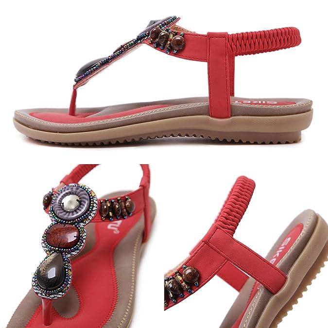 7ccd4d48c0f7 Yooeen Ladies Women s Flip Flop Sandals Bohemia Rhinestone Bead Clip Toe  Sandals Elastic T-Strap Post Thong Sandals Low Heel Flat Summer Shoes Size  UK2.5-9  ...