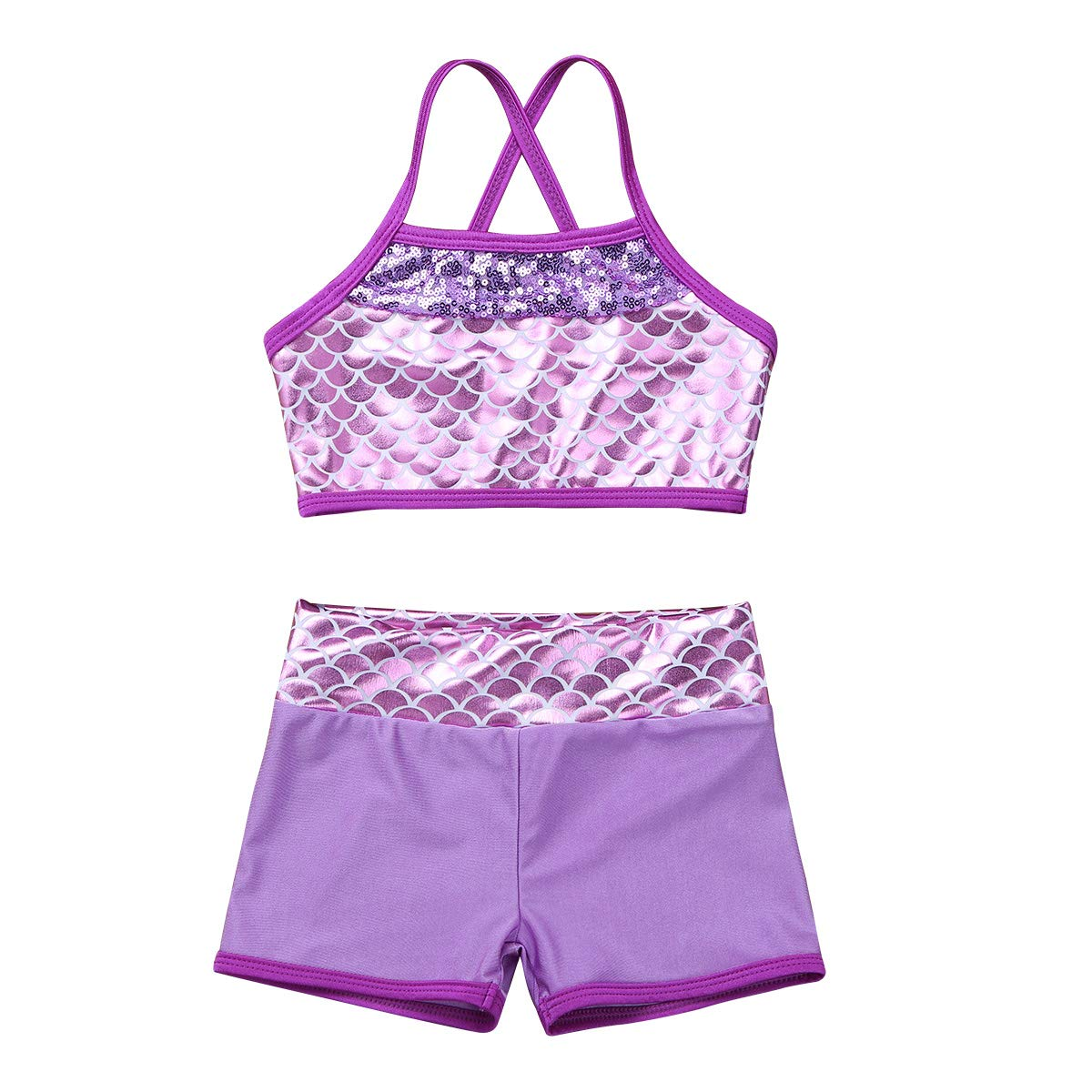 inlzdz 2PCS Kids Girls Sequined Sports Dance Bra Top with Shorts Ballet Dance wear Stage Performance Costumes