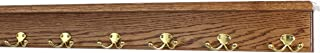 "product image for PegandRail Oak Shelf Coat Rack with Solid Brass Double Style Hooks (Chestnut, 31"" with 6 Hooks)"