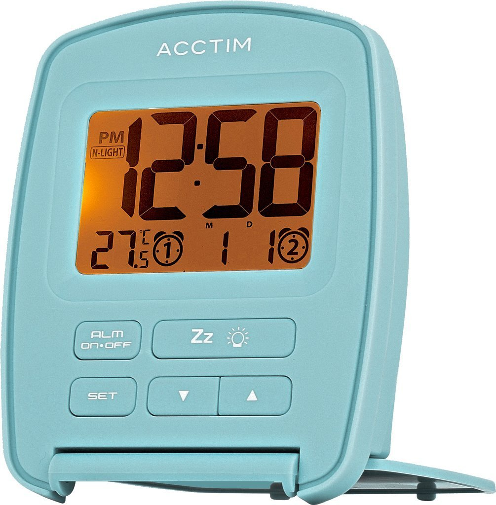 Acctim 15519 Erebus Nightglow LCD Travel Alarm Clock in Artic Blue
