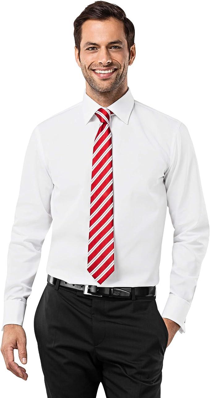Vincenzo Boretti Camisa de Hombre, Corte Ajuste Recto/Regular-fit, 100% algodón, Manga-Larga, Cuello Kent, puño Reversible, con entredós de Contraste, ...