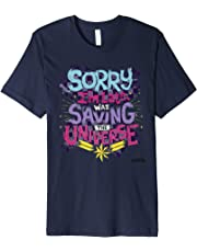 Captain Marvel Sorry I'm Late Colorful Quote Graphic T-Shirt