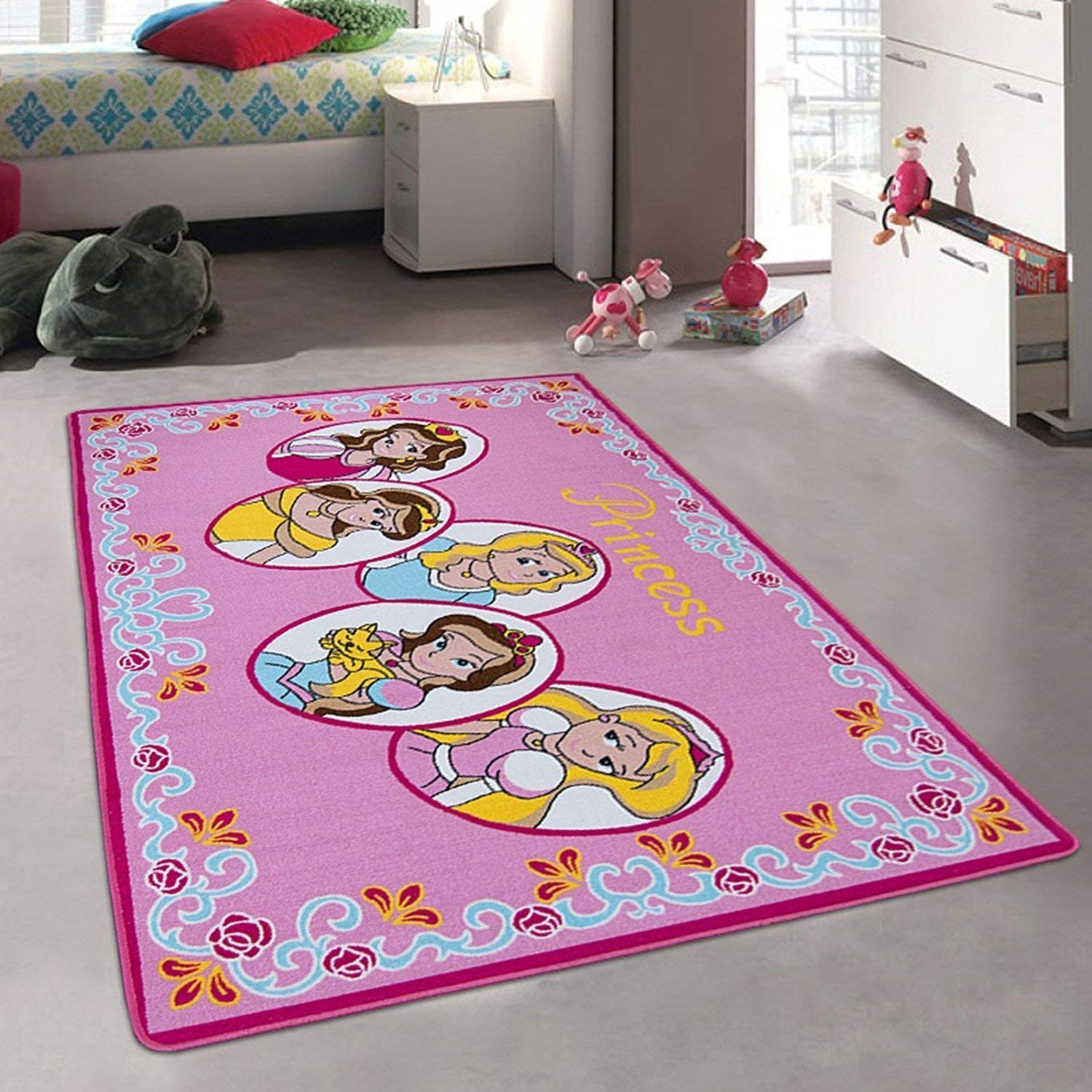 Kids Carpet Girls Bedroom, Designer Figure Children's Rugs Princess Tiara Crown Disney Style Bright Colorful Vibrant Colors (3 Feet X 5 Feet)
