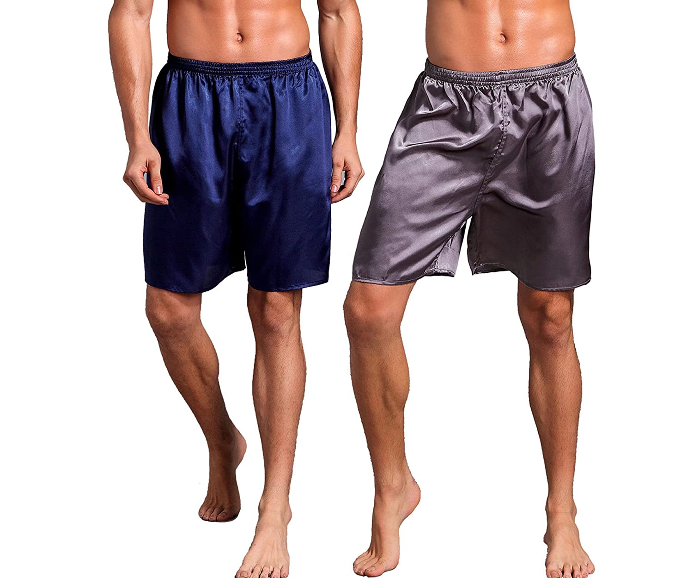 Admireme Mens Satin Boxer Shorts Silk Pajamas Shorts Sleepwear Boxers Underwear Beach Shorts
