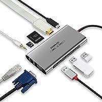 SONMUSE声缪斯 Type-C扩展坞USB转HDMI/VGA网接口MacbookP转换器 (【千兆网口+3.0USB*3+HDMI+VGA+SD读卡槽+TF读卡槽+3.5mm音频口+type-c快充】)