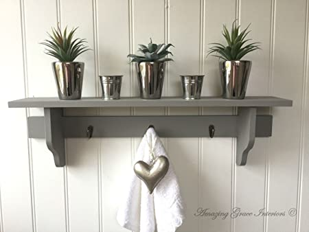 Shabby Chic Grey Wall Shelf Unit Storage Cupboard Kitchen Bathroom Coat  Hooks