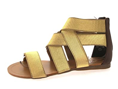 0f031c9f8b1c Lora Dora Women s Elastic Strap Gladiator Sandals Elasticated Open Toe Flat  Shoes Gold ...