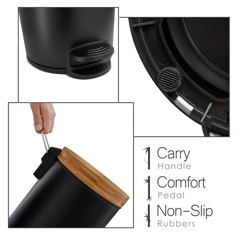 3l Cubo cosm/ético de dise/ño Blanco Tapa de Madera de bamb/ú con Sistema de Descenso autom/ático Cubo de Pedal con antihuellas Dactilares y Pedales de Confort
