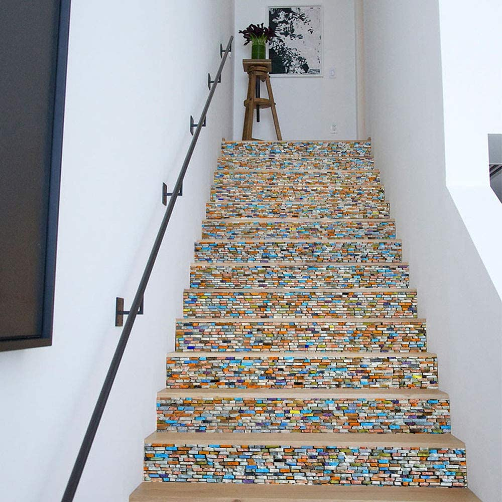 Sencillo Vida 3D Pegatinas de Escalera Antideslizante Impermeable auto adhesivo pegatina de pared vinilo decorativo Stair Sticker Steps Sticker Ceramic Tiles Patterns, 6Pcs/Set (B): Amazon.es: Bricolaje y herramientas